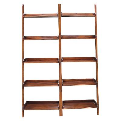 "Set of 2 75.5"" 5 Shelf Leaning Bookcase Espresso - International Concepts"