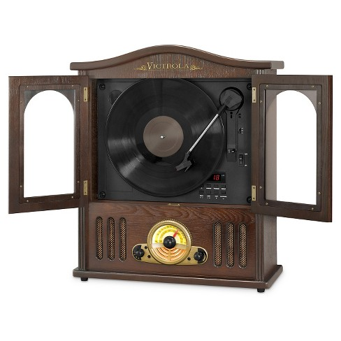 Victrola Wooden Wall Mount Nostalgic Record Player With Vertical Turntable Cd And Bluetooth Target