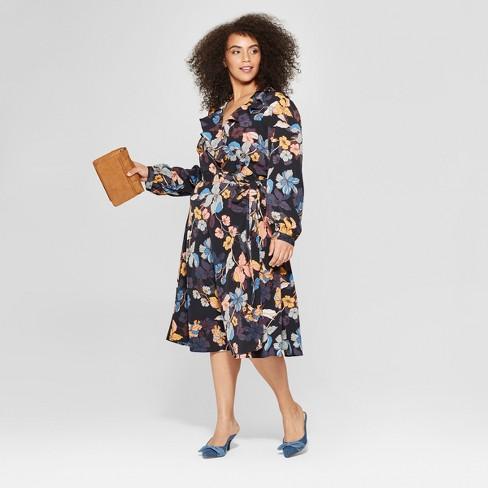 5a21736ab68 Women s Plus Size Floral Print Long Sleeve Ruffle Wrap Midi Dress - Who  What Wear™ Black Pink 1X   Target