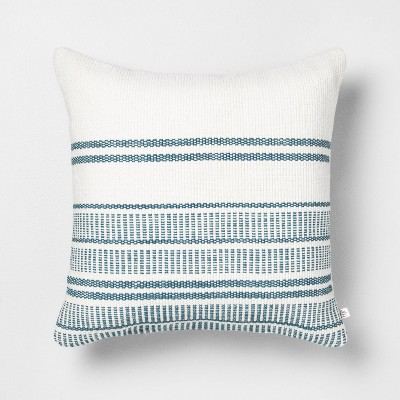 18x18 Stripe Square Pillow Blue - Hearth & Hand™ with Magnolia