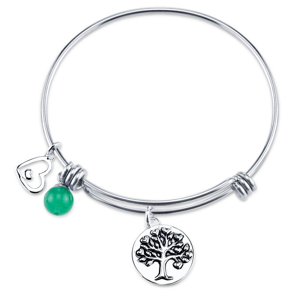 Women's Steel Stainless Steel Family a circle of strength love and hope Expandable Bracelet - Silver (8)