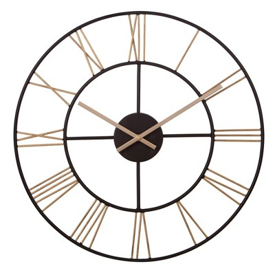 20  Metal Cut Out Roman Numeral Wall Clock Black - Patton Wall Decor