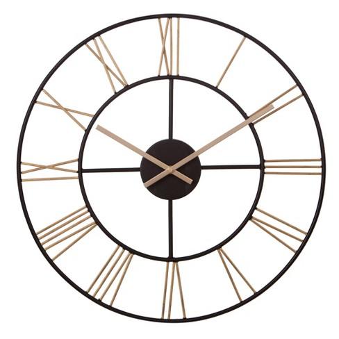 20 Metal Cut Out Roman Numeral Wall Clock Black Patton Wall Decor