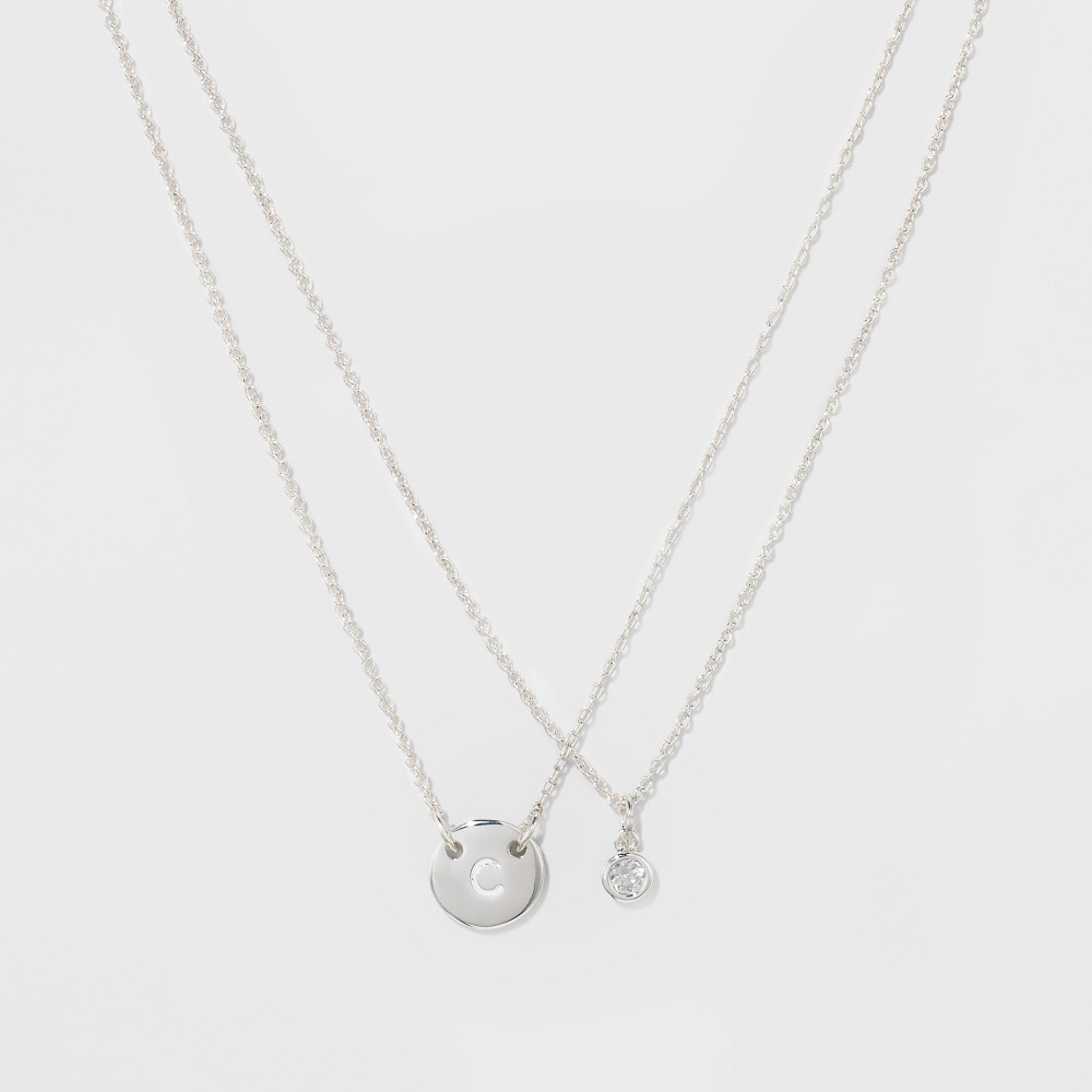 Women's Silver Plated Letter C Initial Clear Crystal Necklace - Silver (18), Gold