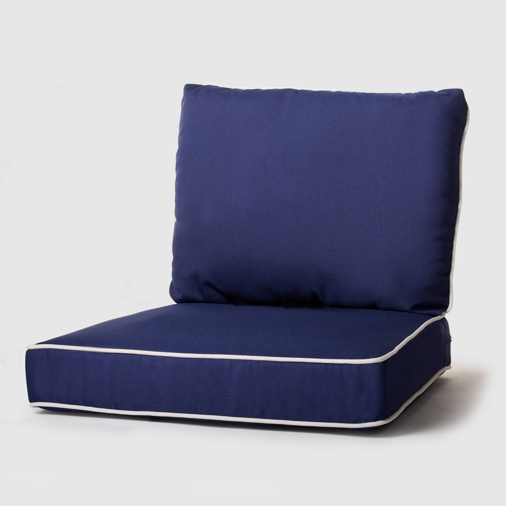 Image of 2pc Rolston Outdoor Seat and Back Replacement Cushions Navy - Grand Basket, Blue