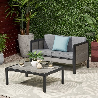 Jax 2pc Faux Wood Loveseat Set - Gray - Christopher Knight Home