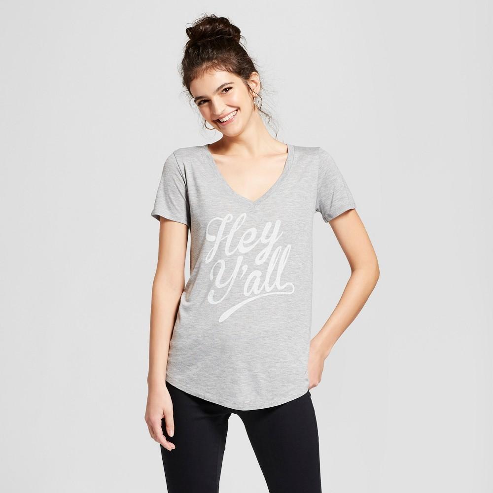 Women's Hey Y'all Short Sleeve V-Neck Graphic T-Shirt - Awake Gray M