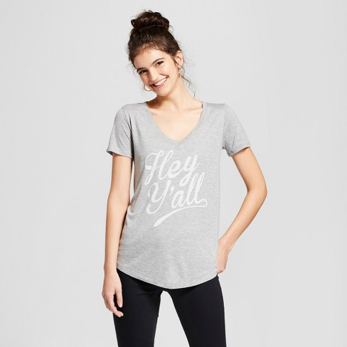 Women's Hey Y'all Short Sleeve V-Neck Graphic T-Shirt - Awake Gray - image 1 of 2