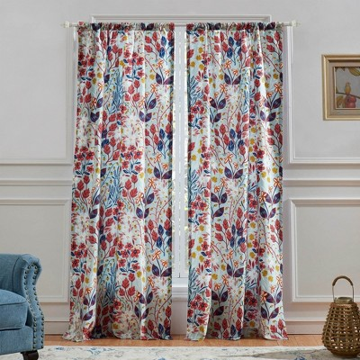 """Barefoot Bungalow Perry 4-Piece Window Panel & Tie Backs With 3"""" Rod Pocket - 42X84"""" Multicolor"""