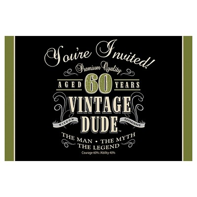 8ct Vintage Dude 60th Birthday Invitations