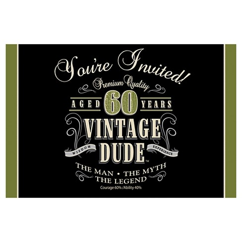 8ct Vintage Dude 60th Birthday Invitations Target