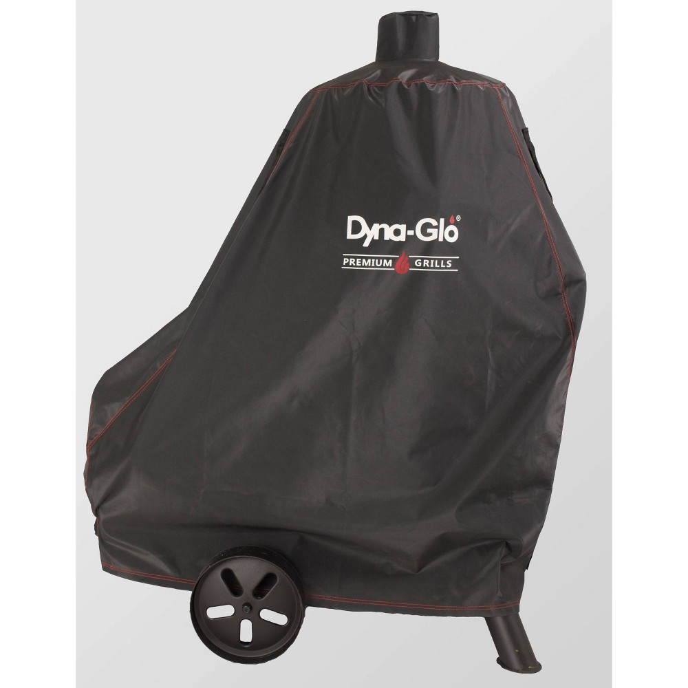 Premium Vertical Offset Charcoal Smoker Cover Black - Dyna-Glo Protect your smoker when not in use with the Premium Vertical Offset Charcoal Smoker Cover from Dyna-Glo. Made from a water-resistant material, this vertical charcoal smoker cover protects your charcoal smoker from the elements when not in use or in storage, while double-stitched seams add to its durability and longevity. This smoker cover comes with hook and loop fasteners to keep its position secure, while side mesh vents help maintain airflow to protect your smoker from moisture buildup. Color: Black.