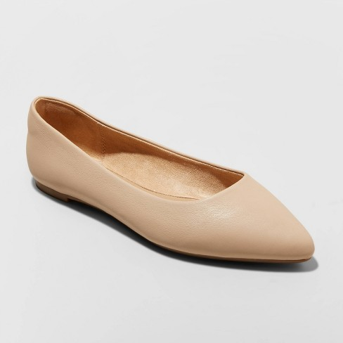 Women's Corinna Pointed Toe Ballet Flats - A New Day™ Tan  - image 1 of 3