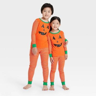 Kids' Halloween Pumpkin Matching Family Pajama Set - Orange