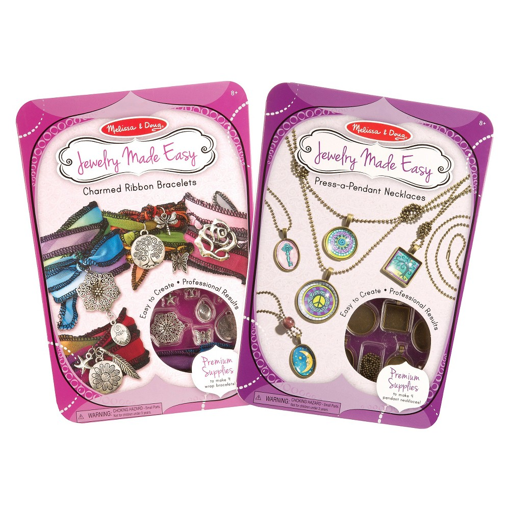 Melissa & Doug Jewelry Made Easy Set of 2 - Ribbon Bracelets and Press-a-Pendant Necklaces
