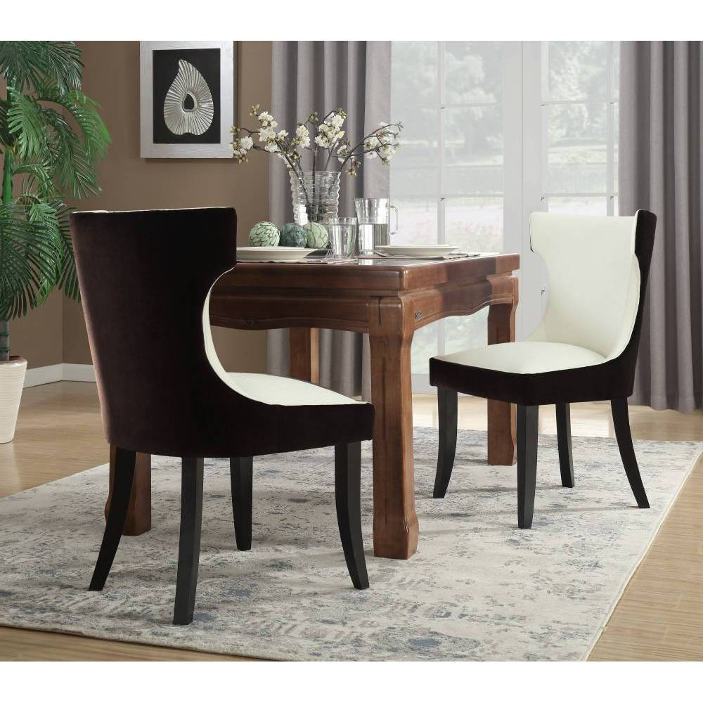 Set of 2 Zeke Dining Chair Brown/Light Beige - Chic Home Design was $389.99 now $233.99 (40.0% off)