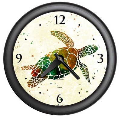"14"" x 1.8"" Sea Turtle Quartz Movement Decorative Wall Clock Black Frame - By Chicago Lighthouse"