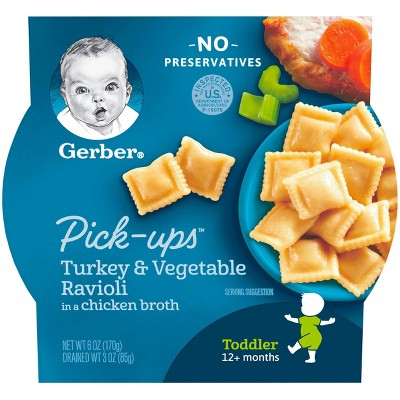 Gerber Toddler Pasta Pick-Ups Turkey & Vegetable Ravioli in a Chicken Broth Baby Meals - 6oz