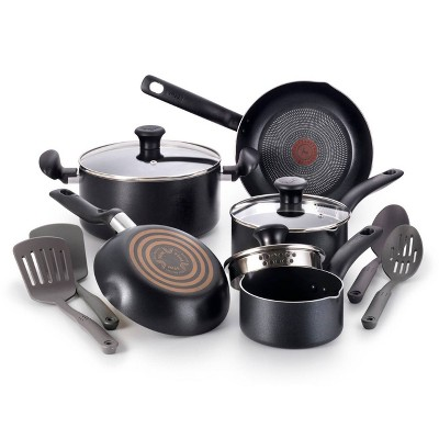 T-fal Simply Cook Nonstick Dishwasher Safe Cookware, 12pc Set, Black