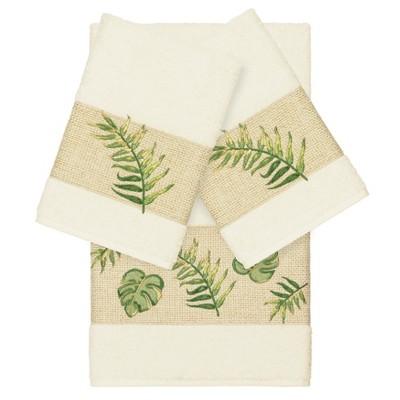 Zoe Embellished Bath Towel Set Cream - Linum Home Textiles