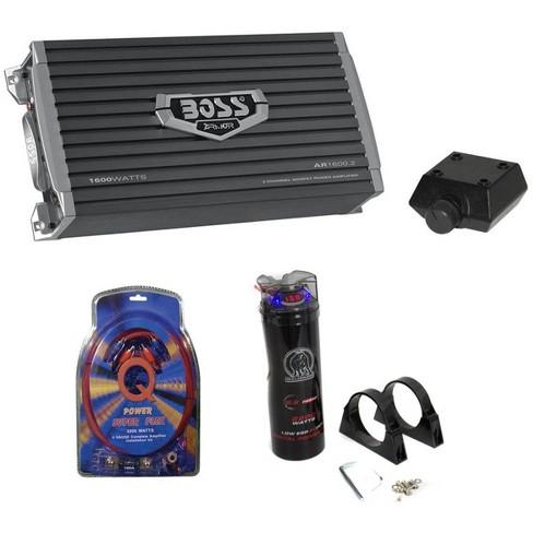 Boss AR1600.2 1600W 2-Ch Car Amplifier + Remote + 2.0 Farad Cap + 4 Ga Amp Kit - image 1 of 4