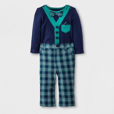 Baby Boys' 2pc Long Sleeve Bodysuit, Bow Tie and Pant Set - Cat & Jack™ Navy Blue/Green 3-6M