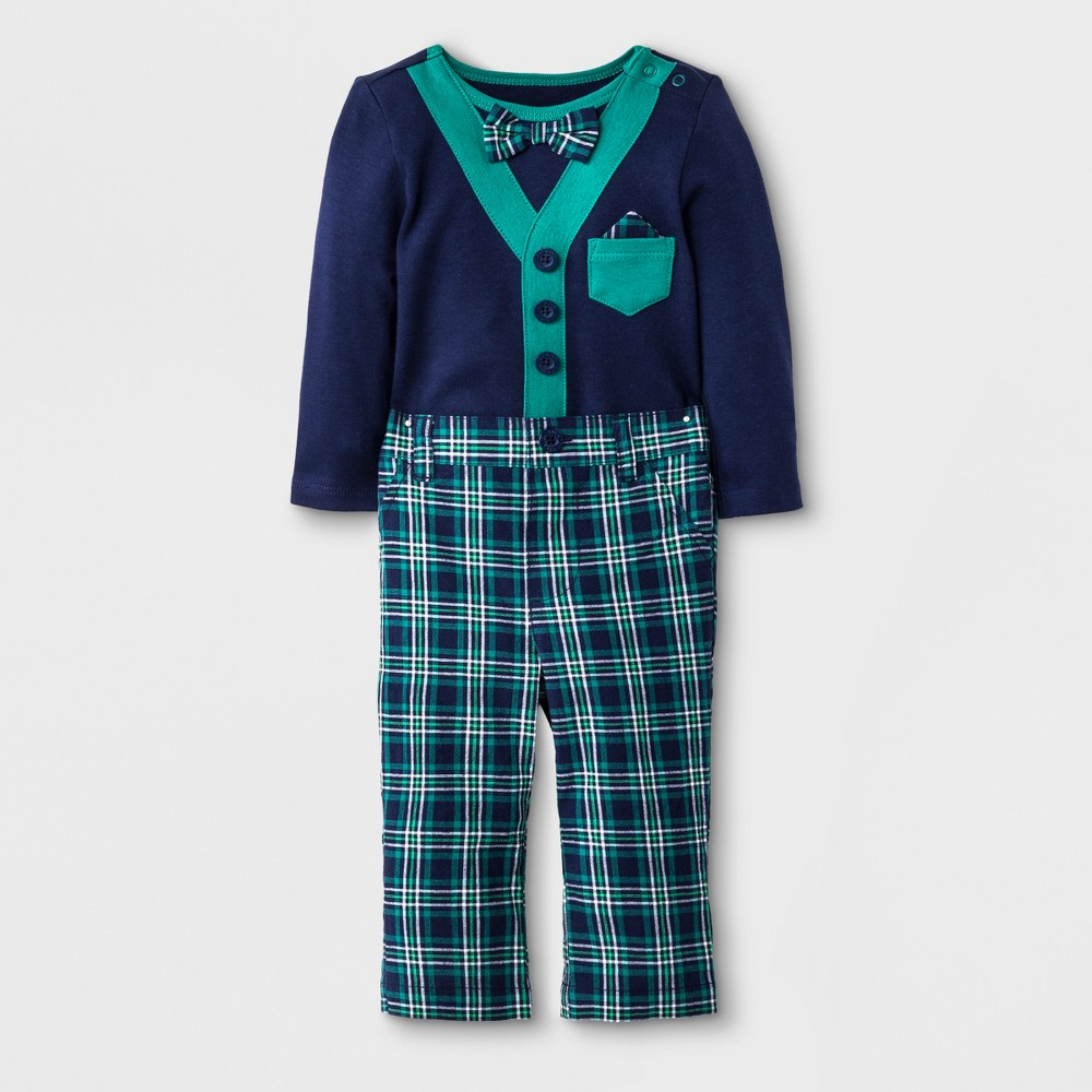 Baby Boys' 2pc Long Sleeve Bodysuit, Bow Tie and Pant Set - Cat & Jack Navy Blue/Green 6-9M