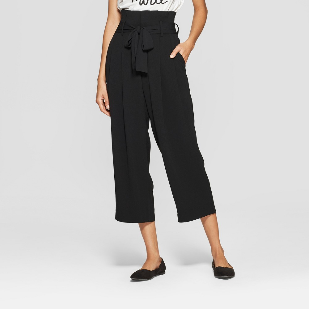Women's Wide Leg Paperbag Crop Pants - A New Day 6 Black