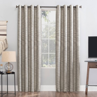 "84""x52"" Rhett Woven Strie Theater Grade Extreme Total Blackout Grommet Top Curtain Panel Cream/Gray - Sun Zero"
