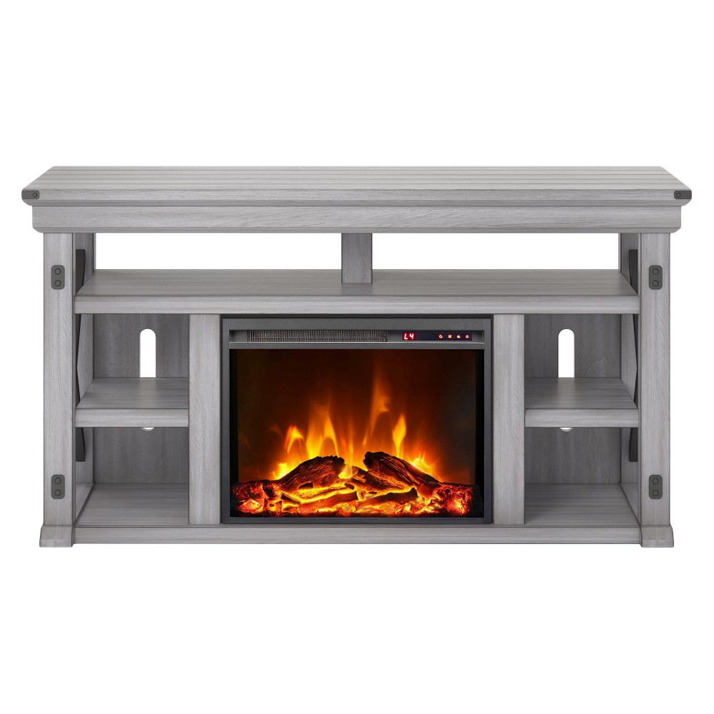 60 Hathaway Fireplace TV Stand Wide Rustic White - Room & Joy