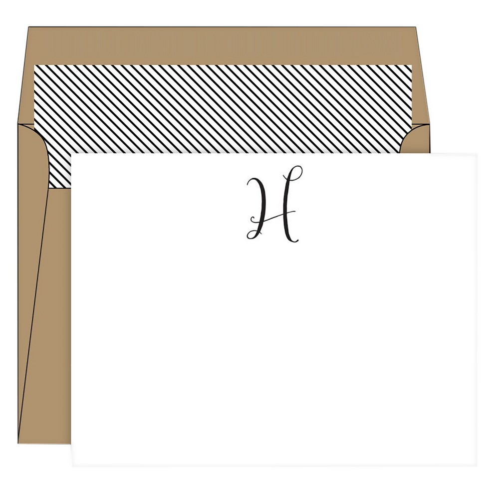 RosanneBECK Collections White Die-Cut Social Set Kraft Monogram - H