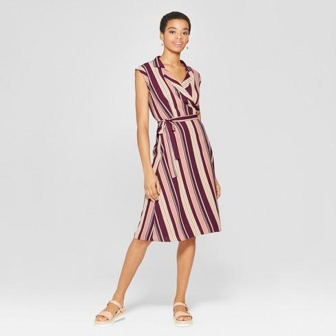 ce9ebd71a3a3c Women s Striped Sleeveless Collared Wrap Midi Dress - Xhilaration™ Mauve  Mustard