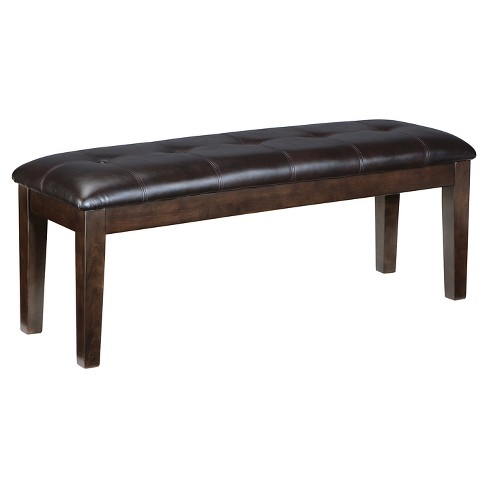 Haddigan Large Upholstered Dining Room Bench Wooddark Brown
