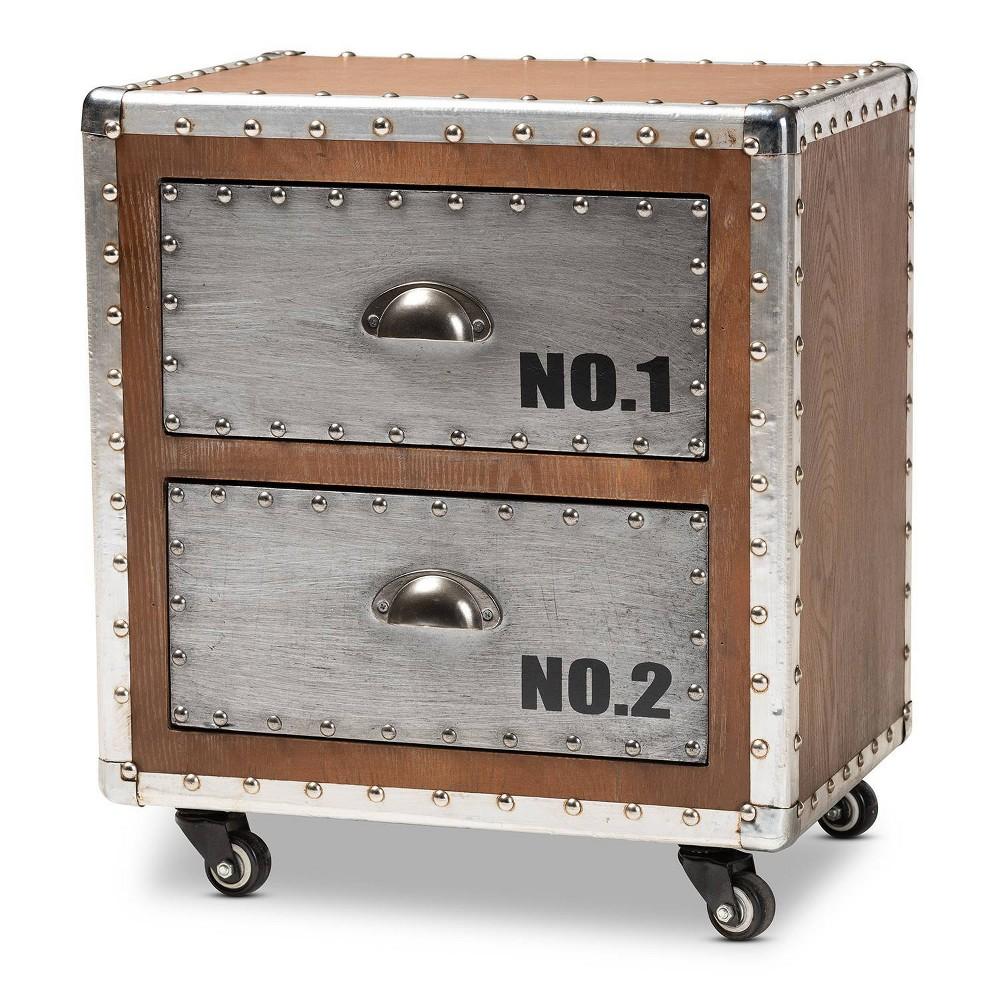 Image of 2 Drawer Avere Wood & Metal Rolling Nightstand Sliver - Baxton Studio