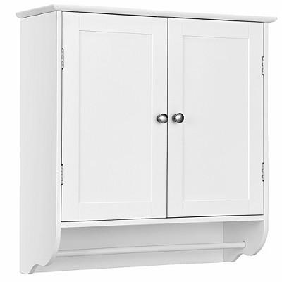 Costway Wall Mounted Bathroom Medicine Cabinet Storage Cupboard w/ Towel Bar