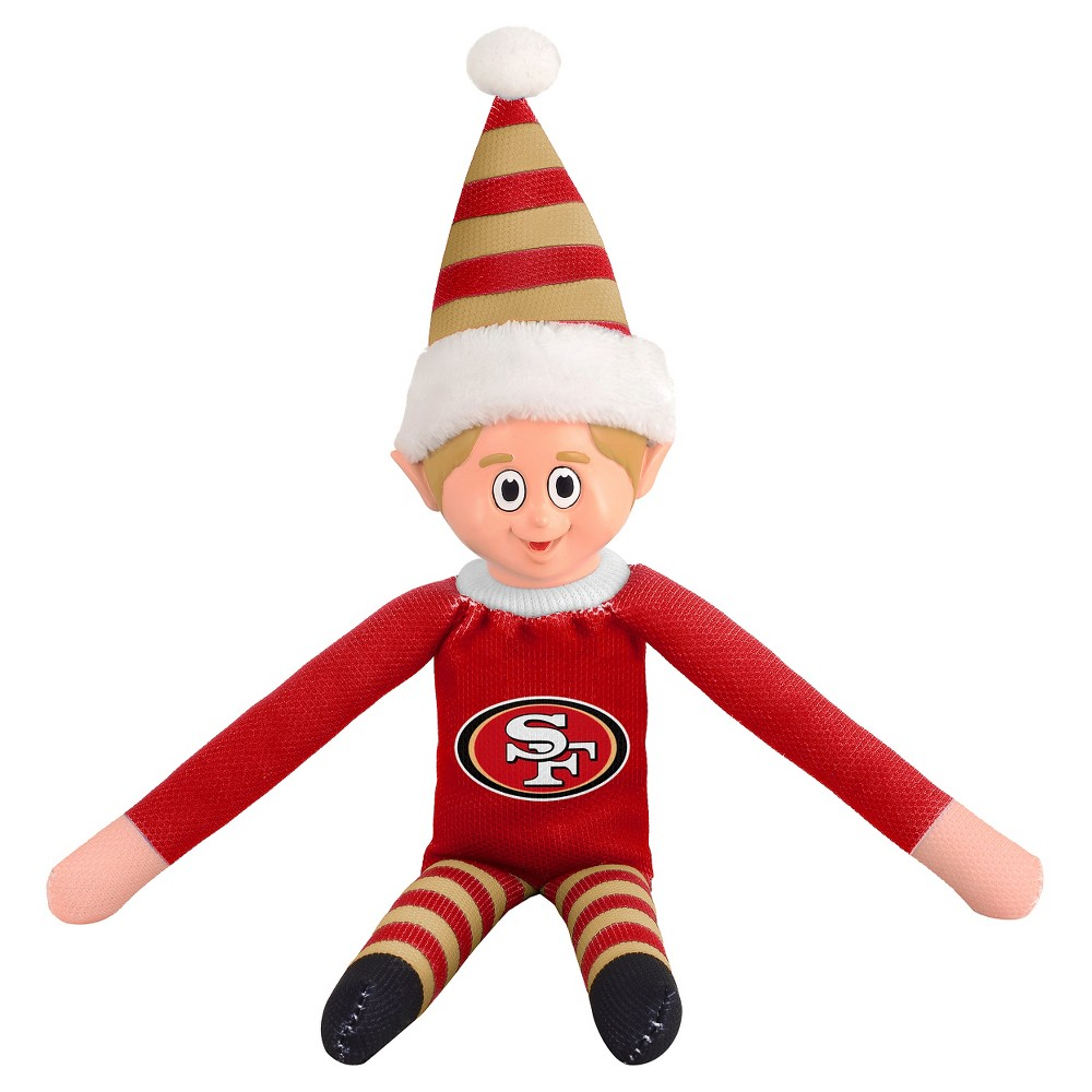 San Francisco 49ers Forever Collectibles Plush Forever Collectibles - NFL Team Elf, San Francisco 49Ers - This Forever Collectibles Team Elf with provide hours of joy and holiday cheer for all. This officially licensed elf is sporting your favorite team's logo on his sweatshirt and a Santa hat for the season. Start a new tradition this year with your 2015 team elf! Age - 3 and up. Team elf is approximately 14 inches tall.