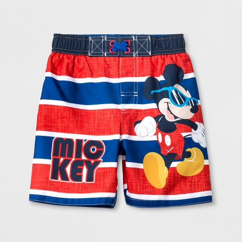 Toddler Boys' Disney Mickey Mouse & Friends Mickey Mouse Swim Trunks - Red/Blue - image 1 of 1