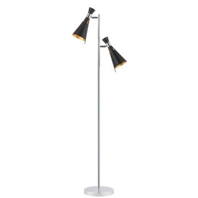 """61.5"""" Efisio Floor Lamp Chrome (Includes LED Light Bulb) - Safavieh"""