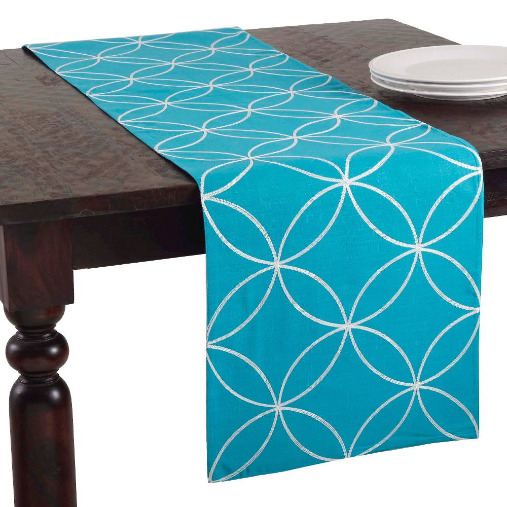 Stitched Tile Design Runner Turquoise (16