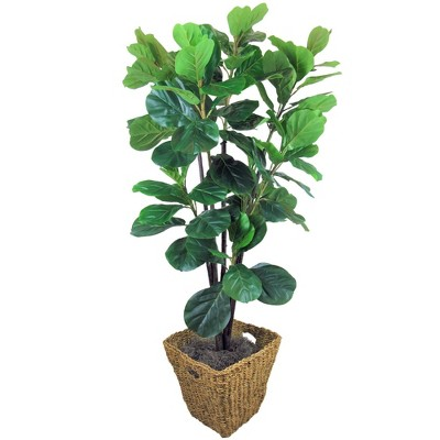 "66"" Artificial Fiddle Leaf Fig Tree in Square Basket - LCG Florals"