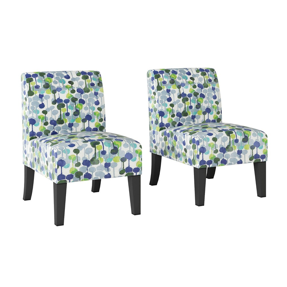 Set Of 2 Rousse Upholstered Armless Chairs Dewdrop Print Bright Blue Handy Living