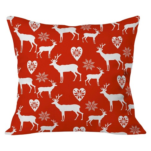 "Red Natt Christmas Deer Throw Pillow (20""x20"") - Deny Designs® - image 1 of 2"