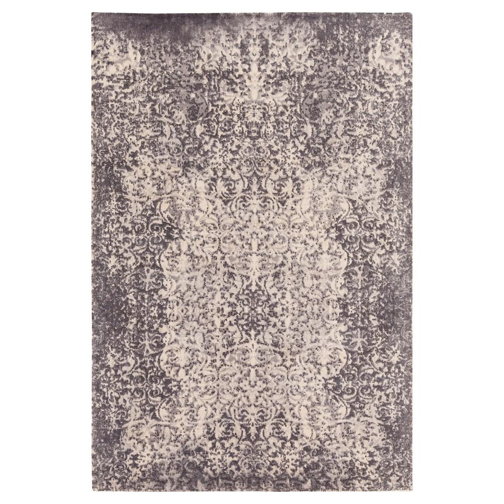 Charcoal (Grey) Damask Loomed Area Rug (8'x10') - Surya
