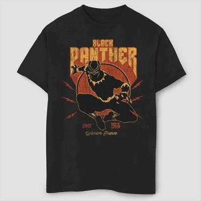 Boys' Marvel Lightning Black Panther Short Sleeve T-Shirt - Black