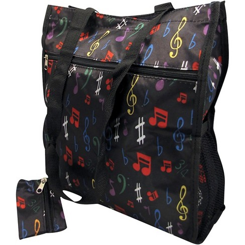 AIM Music Notes Satin Zip To Tote Bag With Change Purse - Black - image 1 of 1