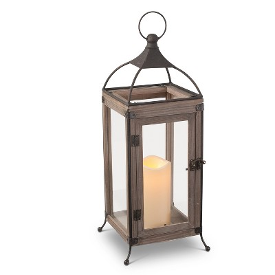 Everlasting Glow 17.7-Inch Tall Wooden Lantern with Steepled Metal Top, Balled Feet, LED Candle and Timer Feature