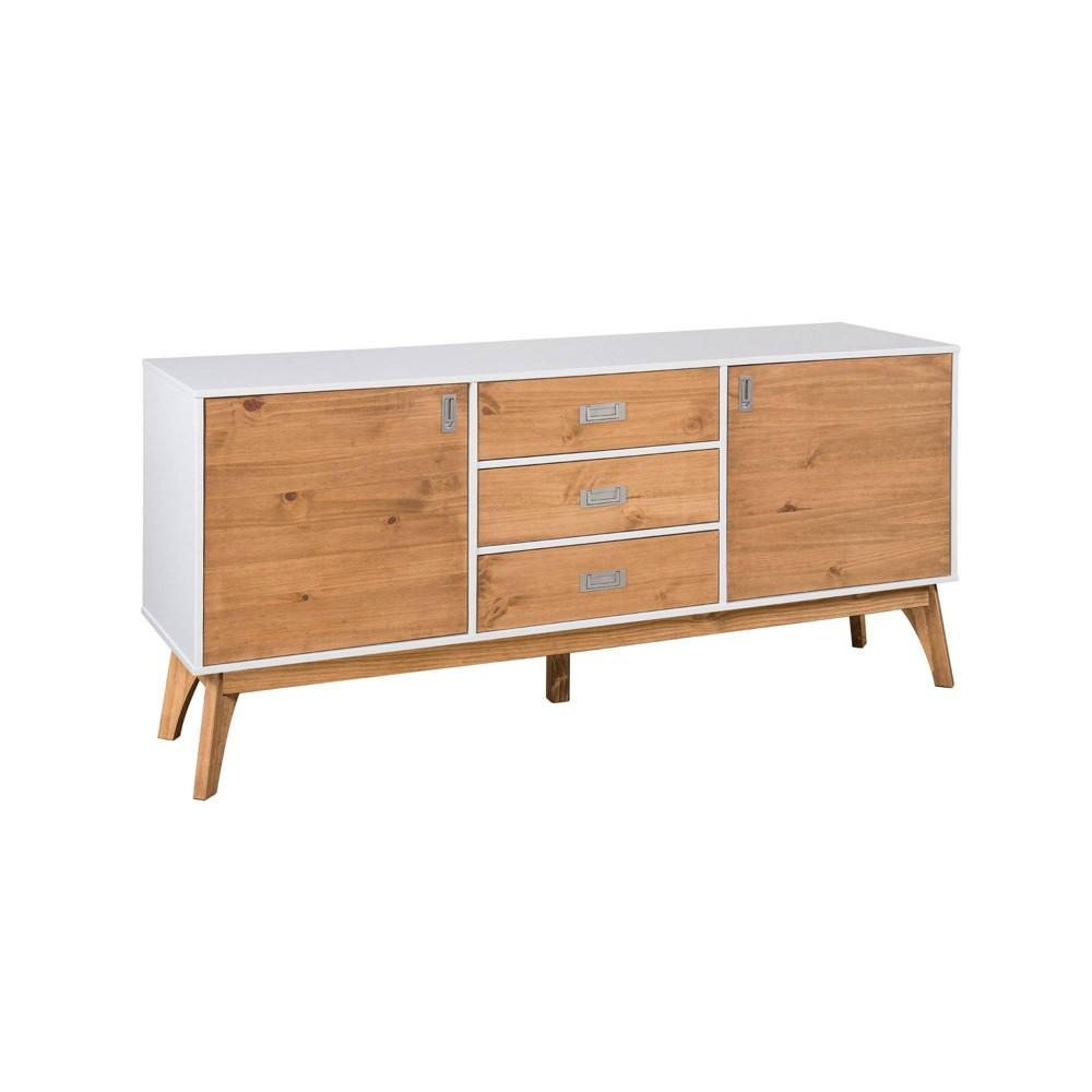 66.92 Rustic Mid Century Modern 3 Drawer Jackie Natural Wood Sideboard White - Manhattan Comfort