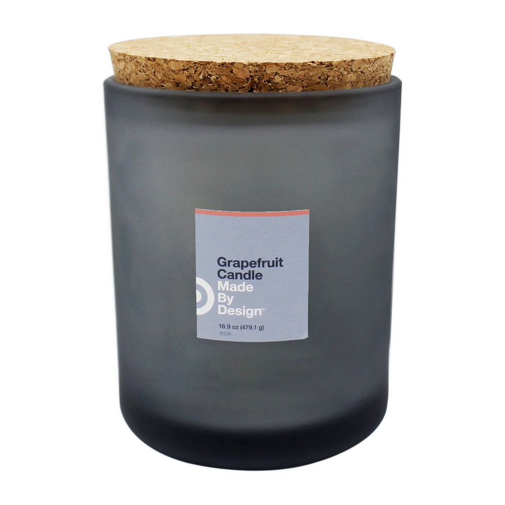 16.9oz Cork Lid Frosted Jar 2-Wick Candle Grapefruit - Made By Design, Black