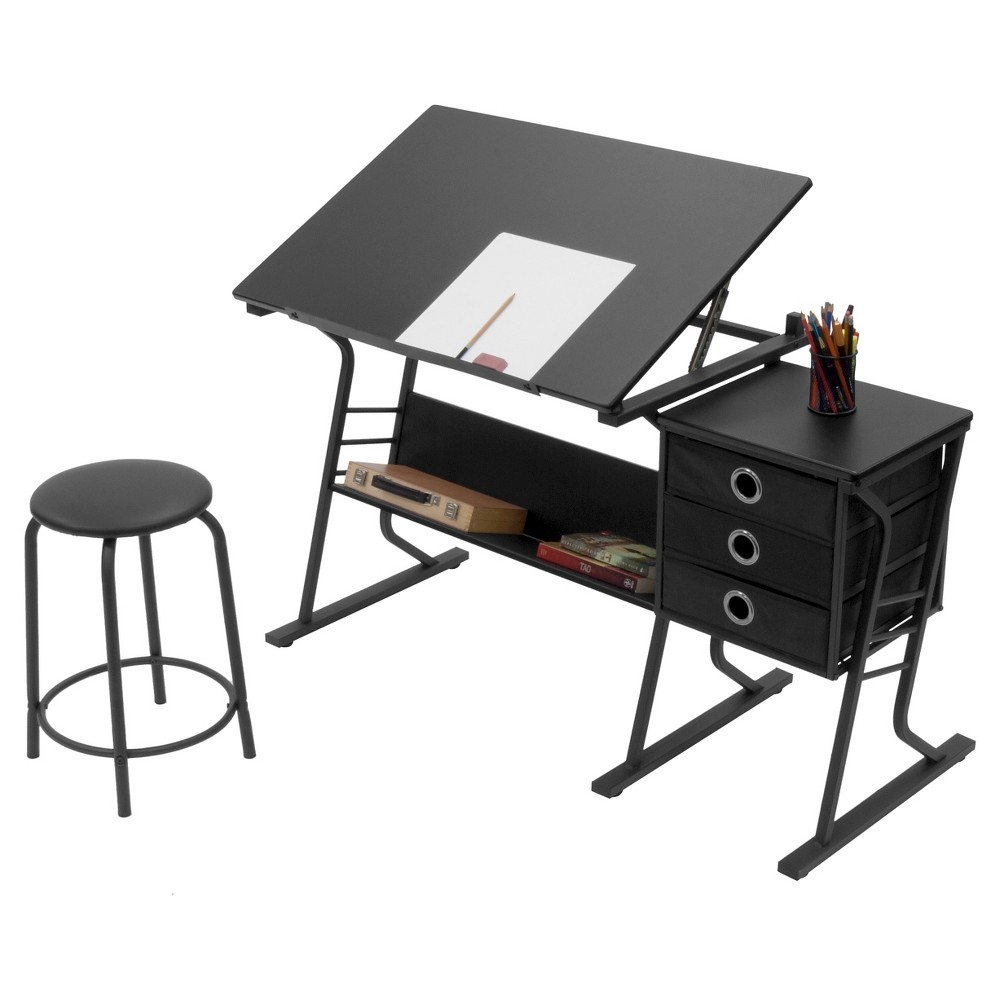 Eclipse Hobby Table with Stool /Black/Black