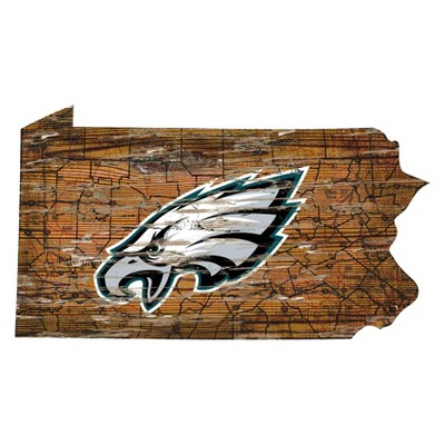 """NFL Philadelphia Eagles 12"""" State Map Wood Sign"""